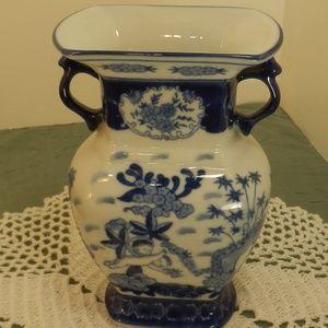 "Ceramic Flower Vase 7 1/4""T Blue White Cherub"